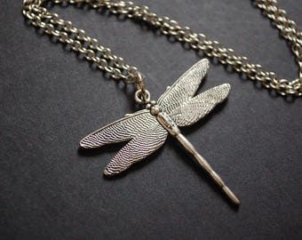 silver tone dragonfly necklace