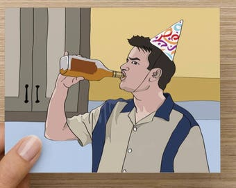 Charlie Sheen - Two & a half men - Drinking Party - Winning - Funny Greeting card - Birthday - Handmade card - Pop culture - Comedy - Funny