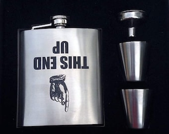 This Side Up // Gift for Him // Funny Flask // Hip Flask for Men // 21st Birthday Gift for him // Pocket Flask // Woman Flask // 7 oz