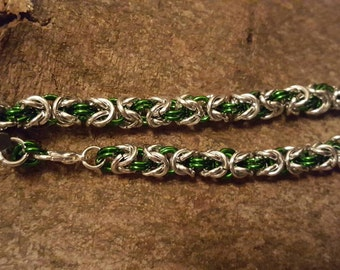 Byzantine chain mail bracelet silver and green