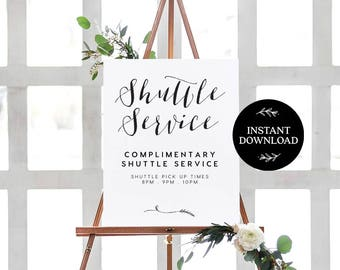 Shuttle Service Sign INSTANT DOWNLOAD Editable PDF, Shuttle Bus Printable, Wedding Reception Sign, Courtesy Bus Sign - Lilly
