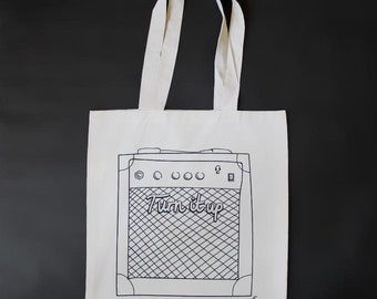 Amp Tote Bag - Eco shopping bag, Gift for guitarist & music lover