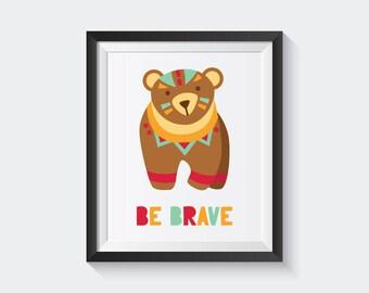 Cute Bear Print, Bear Print, Woodland Nursery, Bear Art, Woodland Bear, Printable Art, Animal Print, Animal Art Print, Woodland Art