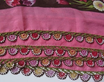 "Vintage Turkish Scarf with great Oya - ""Needle Lace"""