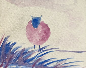 Whimsical Sheep original watercolor painting