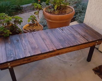 Reclaimed Wood and Steel Porch Bench