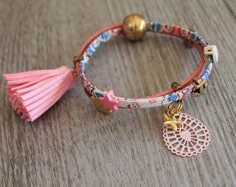 Bracelet pink cotton candy. Tassel leather, fabric, double-row, magnetic clasp
