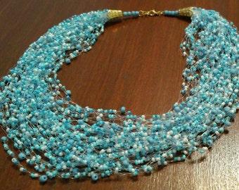 "Air Bead Necklace "" Sea breeze"""