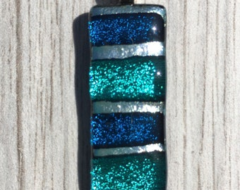 Dichroic Fused Glass Pendant - Teal Aqua and Silver Striped Mosaic Pendant