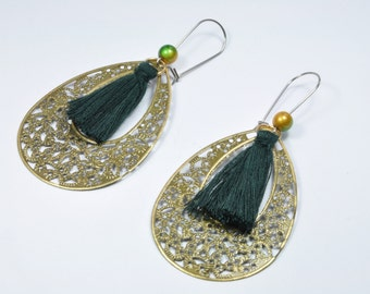 Dangling earrings drops with dark green PomPoms