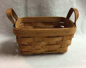 Longaberger Small Rectangle Basket  with Leather Handles (#004)