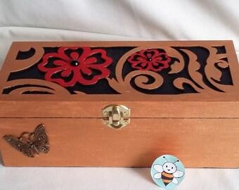Red & Bronze Jewellery Box