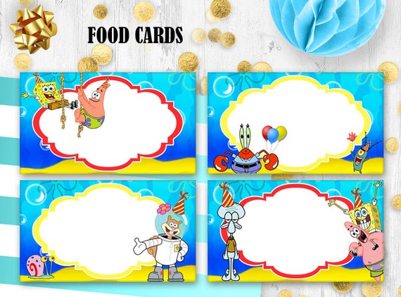 SpongeBob Place cards Food tents Table cards SpongeBob SquarePants birthday  sc 1 st  Etsy & SpongeBob Place cards Food tents Table cards SpongeBob