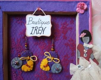 Felt Earrings Handmade With Felt Dangle Jewelry Felted  Heart Fiber Beads  Gift