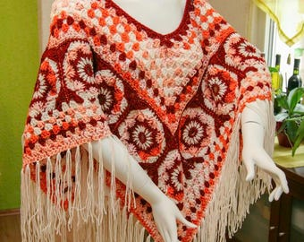 Selbstgemachter crochet poncho 01 - boho style unique
