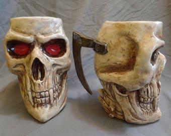 Stoneware Vampire Skull Mug Handmade 20oz