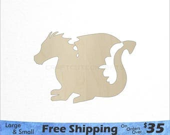 Cute Dragon Shape - Large & Small - Pick Size - Laser Cut Unfinished Wood Cutout Shapes (SO-0021)