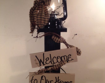Metal lantern and stand country primitive Decor