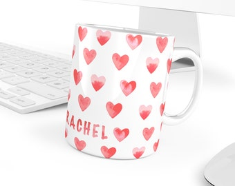Love Mug - Customisable - Women's Day Mug | Heart Pattern - gift for her or him - for Anniversary, Valentines, Housewarming - 11 oz