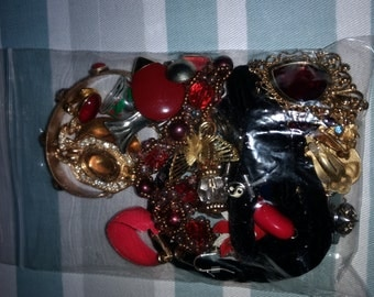 Red/Purple Broken Vintage Jewelry HodgePodge for Crafting