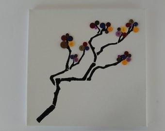 Multicolored Cherry Blossom Button Tree Branch on Canvas