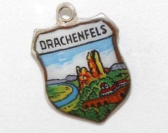 Vintage Silver Enamel Shield Bracelet Charm Drachenfels Germany