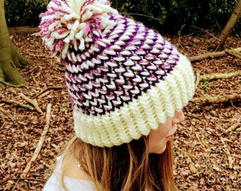 Cream Pink and Purple Combined Chunky Knitted Bobble Hat