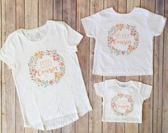 Big Cousin, middle cousin, little cousin, 3 shirt set, matching girls set, cousins, best friends, floral shirt, girls clothing, cute shirts
