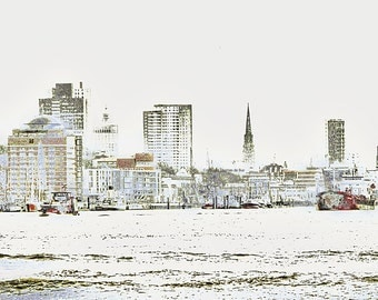 """limited artistic Photography """"The tops of Hamburg"""" by Thomas de Bur Germany 100% cotton canvas gallery photograph certificate"""