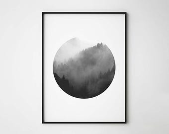 Forest Print, Black and White Forest in Circle, Forest with Fog, Scandinavian Design Print, Round Print, Minimal Print, Nordic Interior
