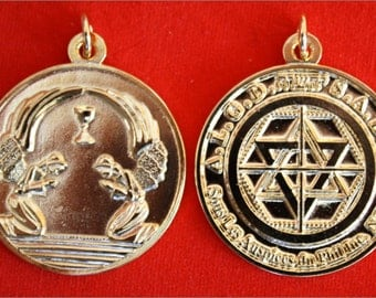 Martinist medallion talisman of very high protection with the angelic alliance in gold plated