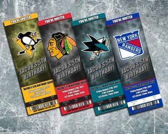NHL Hockey Team Birthday Party Invitation - Custom JPEG Invitation