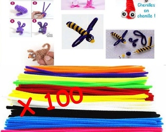 100 caterpillars pipe 30cm metal and polyester MIX colors creative leisure