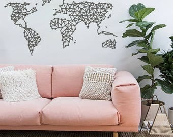 GEOMETRIC WORLD MAP Vinyl Wall Decal Sticker