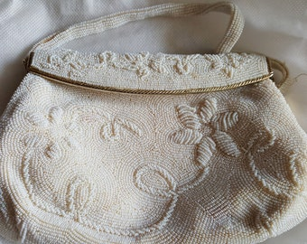 Vintage Beaded White handbag
