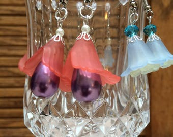 Earrings, Acrylic flowers, beads,elegant, one of a kind, sold per pair each, your choice