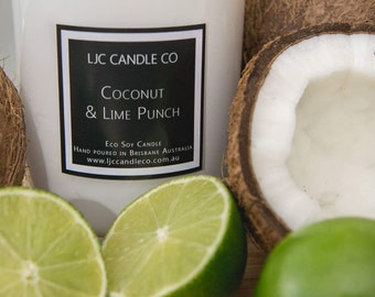 Medium COCONUT & LIME PUNCH Soy Candle. 60 Hour burn time. Hand-poured.