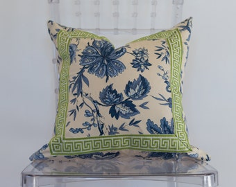 Blue and White Floral 18x18 Inch Decorative Pillow with Green Church Key Trim