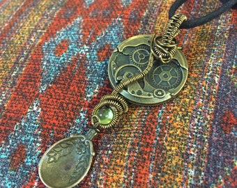 wire wrapped Steampunk spoon charm necklace with peridot