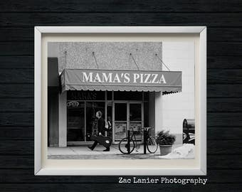 Black and White, Monochromatic Photography, Mama's Pizza Shop, Bicycle, Pizza Shop, Cityscape, Street Photography, Harrisburg, Pennsylvania