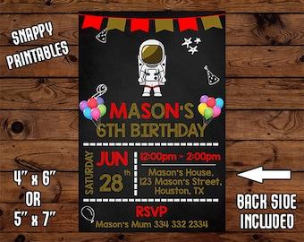 Astronaut Birthday Invitation, Astronaut Birthday Invite, Astronaut Party Invite, Printable, Digital File - 015