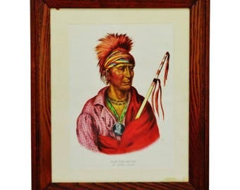 Vintage Native American Indian Not Chi Mi Ne an ioway chief lithograph