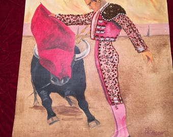 Bullfight Paintings (3) with Beading