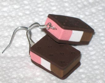 Neapolitan Ice Cream Sandwich Earrings,Ice Cream Earrings,Polymer Clay Earrings,Silver Dangle Earrings,Novelty Food Earrings,Gift Earrings
