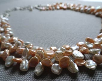 Peach Blossom Necklace and Earrings Collection (Freshwater Pearls, Swarovski Crystal Pearls, Sterling Silver)