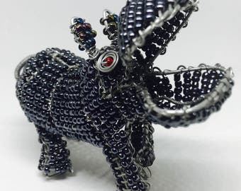 Wire Sculpture Bead Hippo