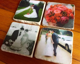 Custom Photo Coasters - Wedding/Engagement Photo Coasters - Personalized Photo Gift - Set of Natural Stone Coasters - Photo Gift
