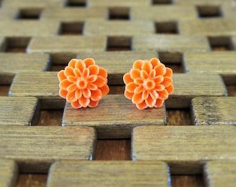 Orange Dahlia Flower Stud Earrings
