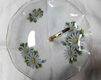 Vintage glass painted cake stand, vintage cake stand, daisy hand painted