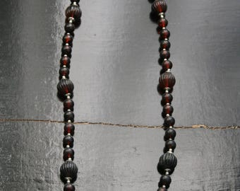 Vintage beaded necklace in dark brown